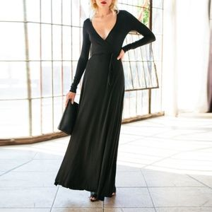 Rachel Pally Black Long Wrap Dress
